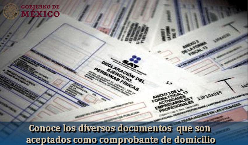 documentos aceptados como comprobante de domicilio