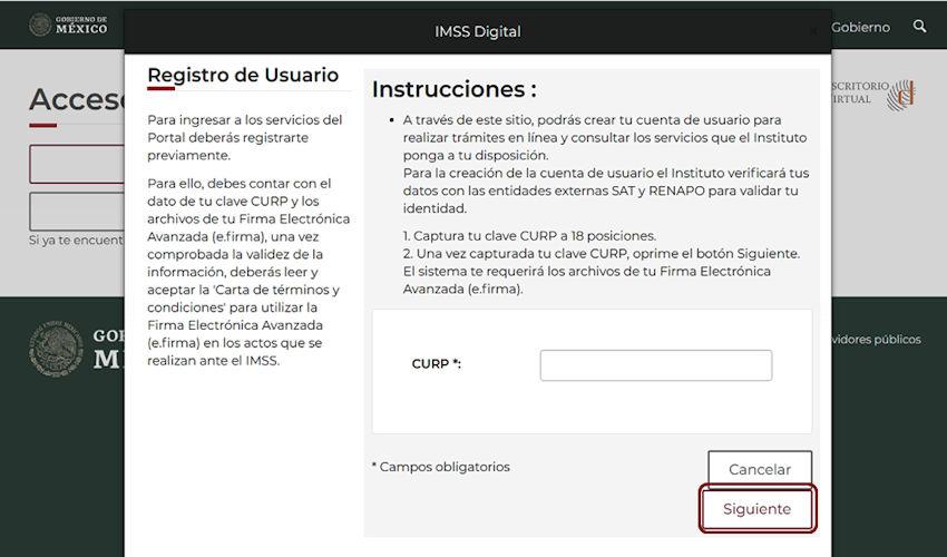 Registro de usuario