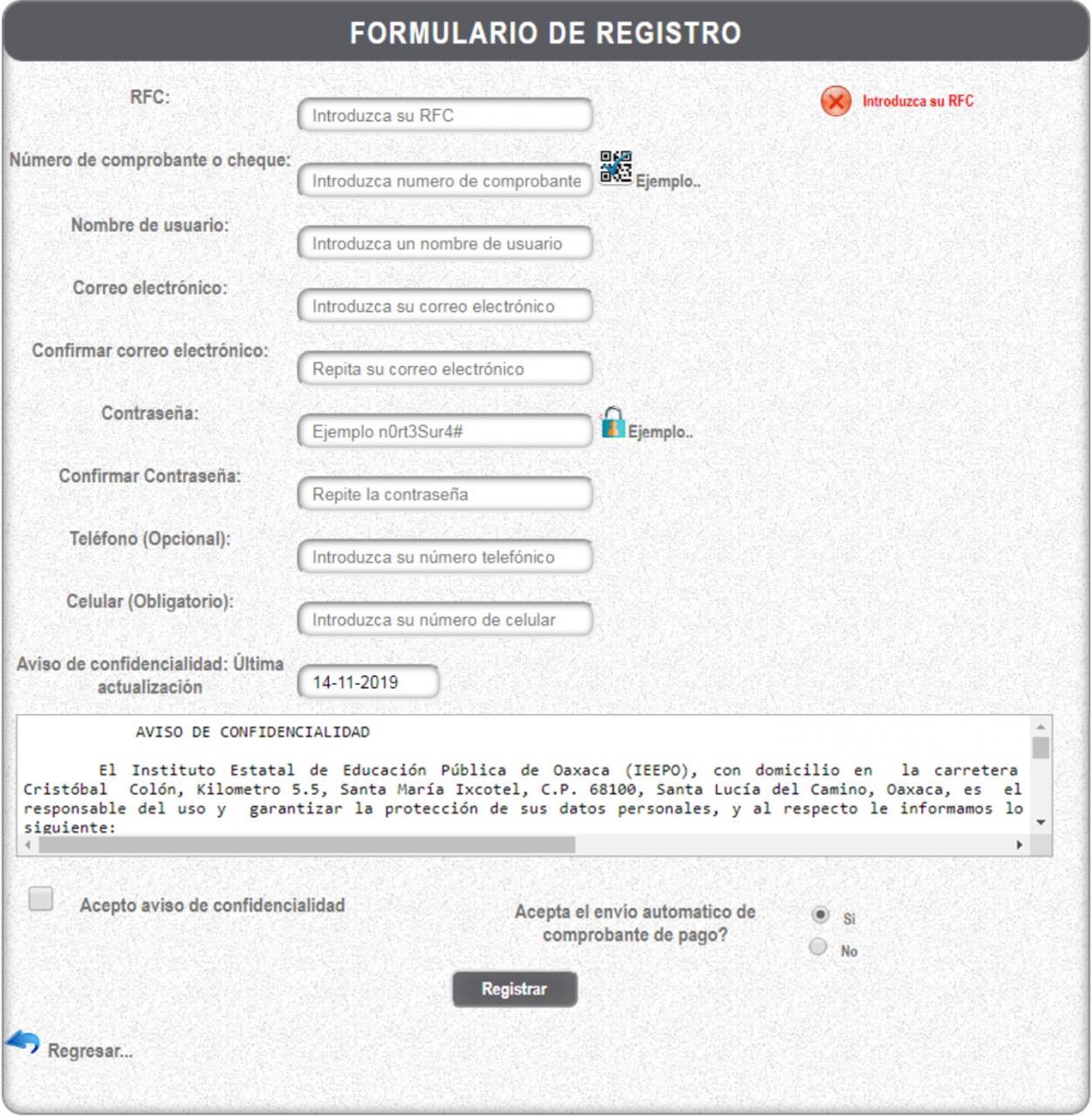 formulario de registro en mi portal ieepo