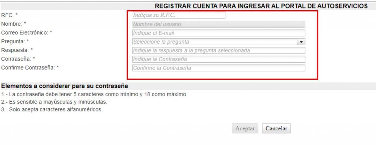 formulario de registro en mi portal sep