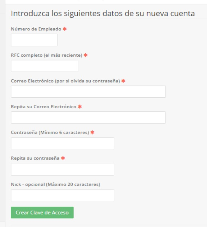 formulario para solicitar clave de acceso