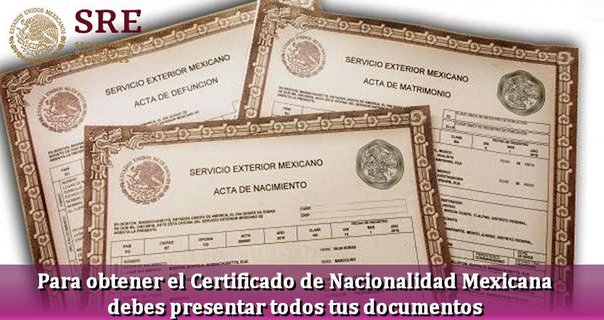 Certificado de Nacionalidad Mexicano